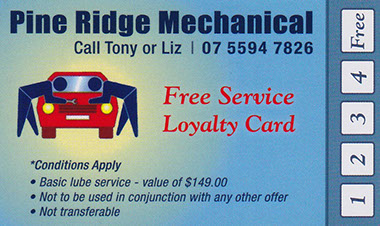 Get every 5th car service on your vehicle for free when you book in with Pine Ridge Mechanical. Friendly service at great prices!